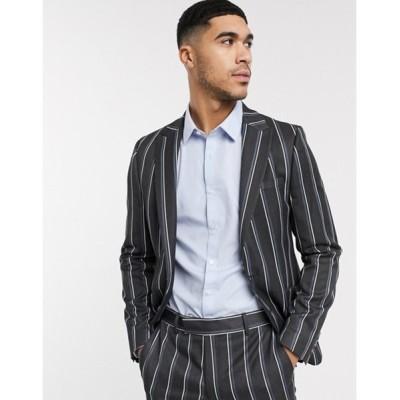 エイソス メンズ ジャケット・ブルゾン アウター ASOS DESIGN skinny suit jacket in bold stripe in gray
