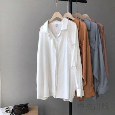 長袖シャツ レディース シャツ 白 長袖 ブラウス カジュアルシャツ ゆったり お洒落 通勤通学・旅行・デート