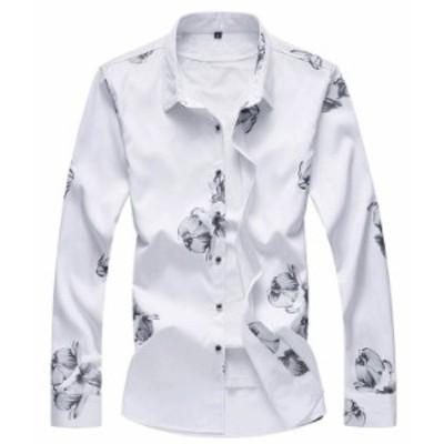 メンズ 花柄シャツ お洒落 長袖 花柄 シャツ カジュアルシャツ 大きいサイズもあり 4色【M~7XL】tシャツ メンズ 長袖 春夏秋対応!