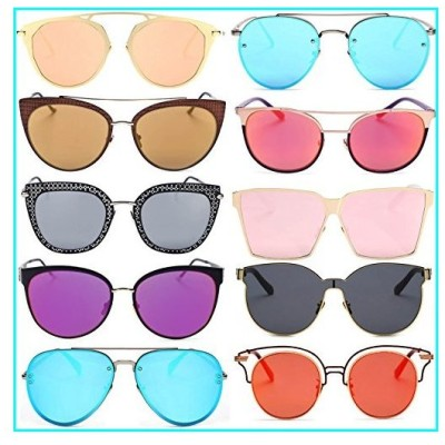 Wholesale 10 pairs Mix Frame Metal Sunglasses Fashion Designer pink coral blue red