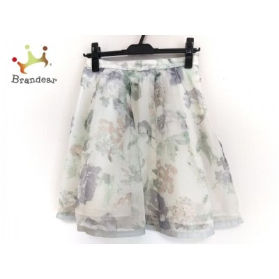リランドチュール スカート サイズ2 M レディース アイボリー×グリーン×マルチ 花柄   スペシャル特価 20201221
