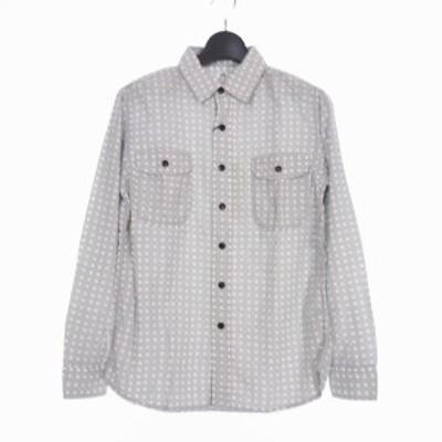【中古】未使用品 カトー KATO` トリプル ステッチ ワークシャツ ドット柄 長袖 S グレー BS710071 メンズ