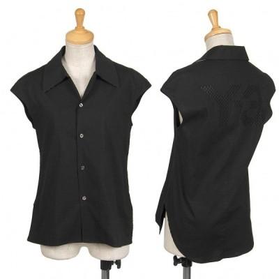 ワイスリーY-3 ロゴ刺繍ノースリーブストレッチシャツ 黒XS 【レディース】