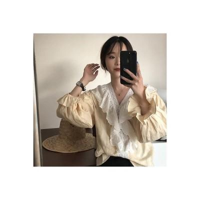 【送料無料】シャツ 女 年 秋 韓国風 何でも似合う 襟 レース 透かし刺繍 フリル | 346770_A63743-2103801