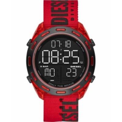 ディーゼル メンズ 腕時計 アクセサリー Men's Digital Crusher Red Nylon Strap Watch 46mm Red