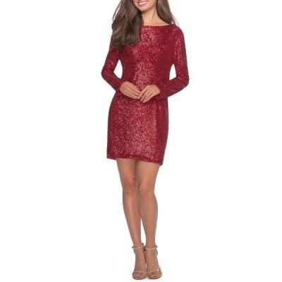 ラフェム ワンピース トップス レディース Long Sleeve Sequin Cocktail Dress Red