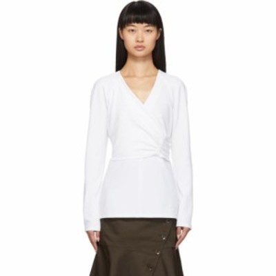 ティビ Tibi レディース ブラウス・シャツ トップス white crepe structured shirred blouse