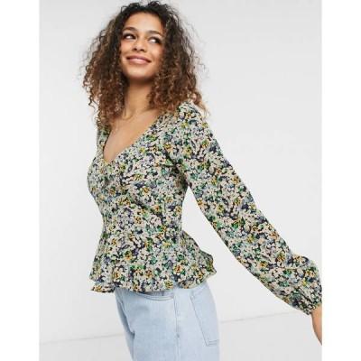 ブレーブソウル レディース シャツ トップス Brave Soul Paris puff sleeve sweetheart neckline blouse in floral print Multi