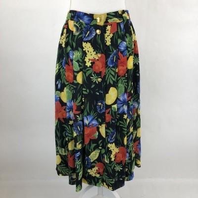 【古着】 BASLER プリーツスカート 花柄スカート 絵画風 ヴィンテージ ブラック系 レディースXL n022805