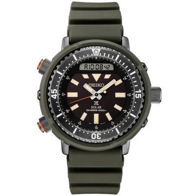 セイコー 腕時計 アクセサリー レディース Men's Analog-Digital Prospex Diver Solar Black Rubber Strap Watch 47.8mm Black