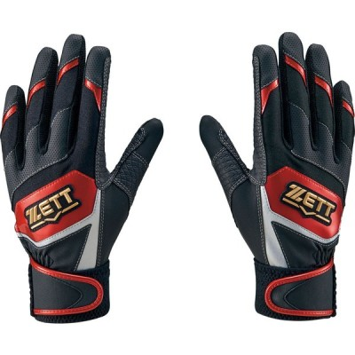 ZETT ゼット バッティング グラブリョウテヨウ BG919J-1964 野球 バッティンググローブ 手袋 両手用 ジュニア ジュニア ブラック/レツド1964
