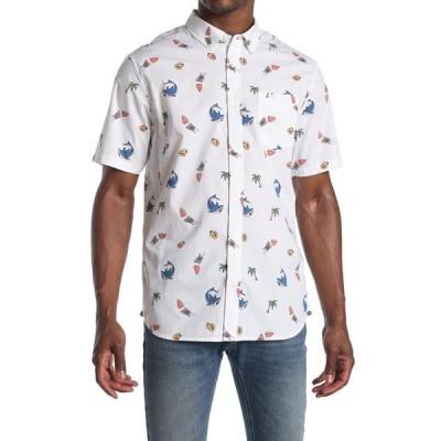 バンズ メンズ シャツ トップス Shark Bite Print Short Sleeve Shirt WHITE