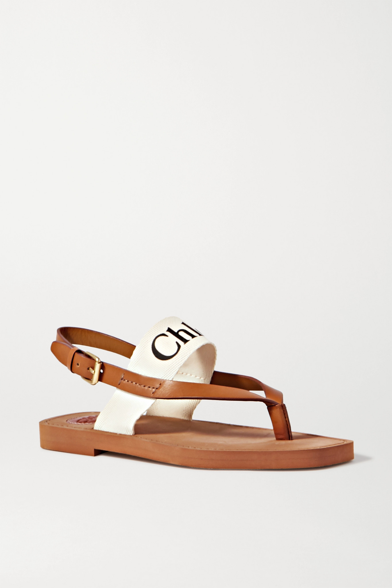 Chloé - Logo-print Canvas And Leather Sandals - White - IT34