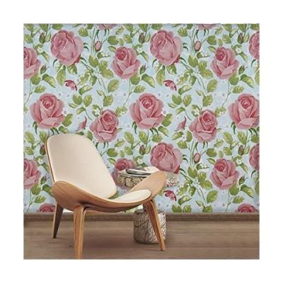 花柄壁紙 ピールアンドスティック ピンクローズ 壁紙 スティック&ピール 自己粘着 取り外し可能 壁紙シ