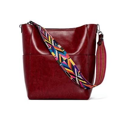 BROMEN Womens Handbag Designer Vegan Leather Hobo Purse Shoulder Bucket Cross-body Bags Bright Red 並行輸入品