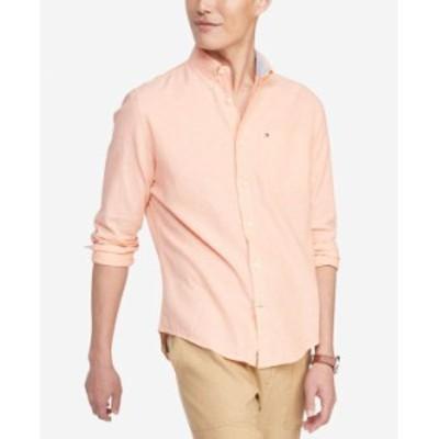 トミー ヒルフィガー メンズ シャツ トップス Men's Custom-Fit Prescott Textured Shirt Canteloupe