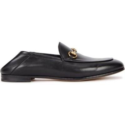 グッチ Gucci レディース ローファー・オックスフォード シューズ・靴 Brixton Black Horsebit Leather Loafers Black