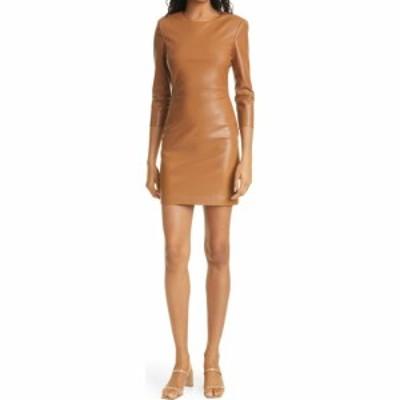 アリス アンド オリビア ALICE + OLIVIA レディース ボディコンドレス ワンピース・ドレス Inka Long Sleeve Faux Leather Body-Con Dres