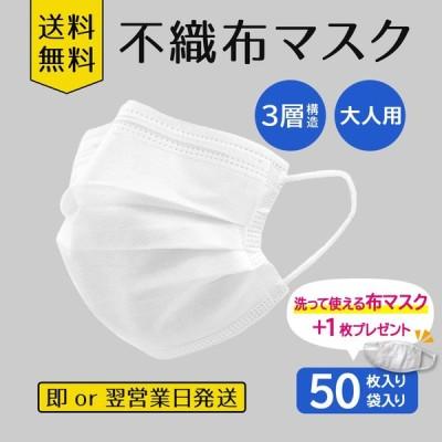 不織布マスク50枚入り 布マスク+1枚プレゼント