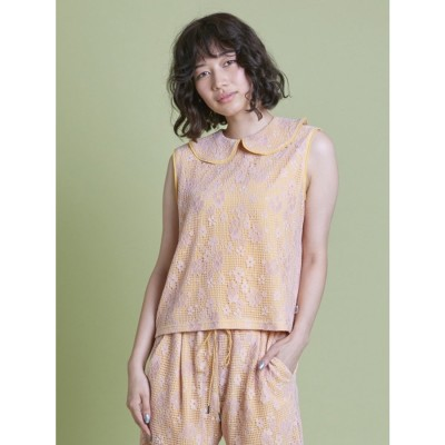 lacy no sleeve top (YELLOW)