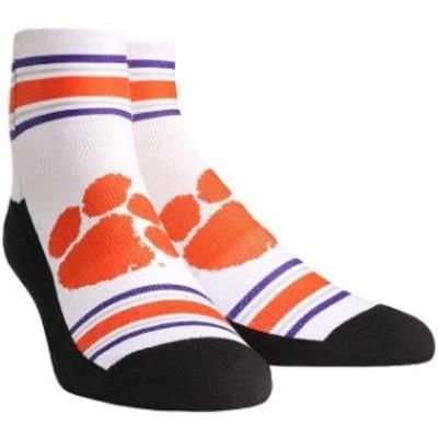 Rock Em ロックイーエム スポーツ用品  Clemson Tigers White Classic Stripes Quarter-Length Socks