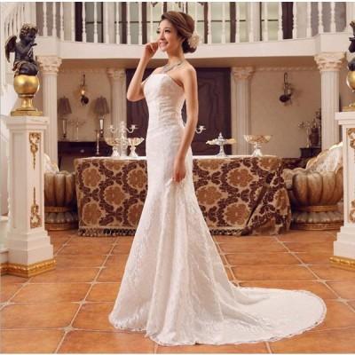ウエディングドレス マーメイドライン ベアトップ 引き裾 ロングトレーン レースアップ レディース ホワイト (S)