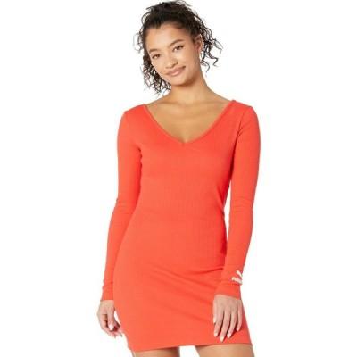 プーマ PUMA レディース ボディコンドレス タイト ワンピース・ドレス Classics Ribbed Bodycon Dress Poppy Red