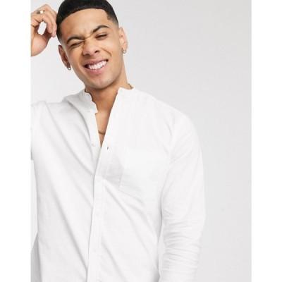 エイソス ASOS DESIGN メンズ シャツ ワイシャツ トップス slim fit organic oxford shirt in white with grandad collar ホワイト