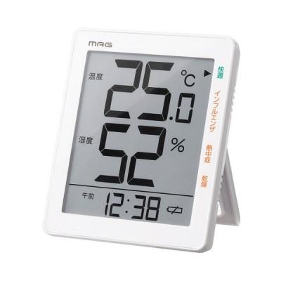 ノア精密 MAG デジタル温度湿度計 大きな液晶 ホワイト TH-105 WH