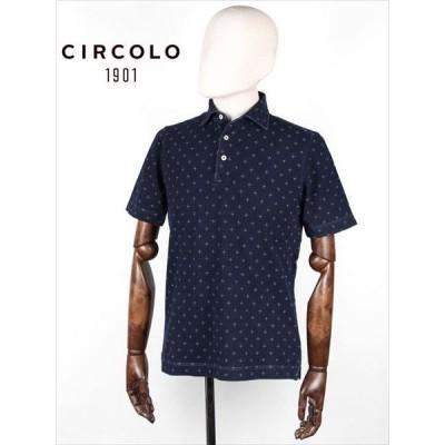 CIRCOLO 1901 チルコロ 1901 ドット柄 鹿の子 ポロシャツ 半袖 インディゴ 8CU189529 国内正規品
