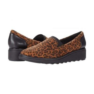 Clarks クラークス レディース 女性用 シューズ 靴 ローファー ボートシューズ Sharon Dolly - Dark Tan Leopard Print Suede