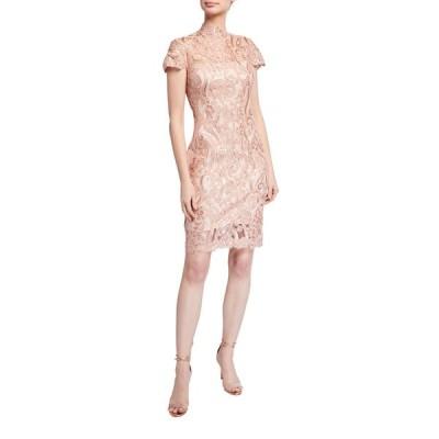 タダシショージ レディース ワンピース トップス Mock-Neck Cap-Sleeve Sequin Lace Dress
