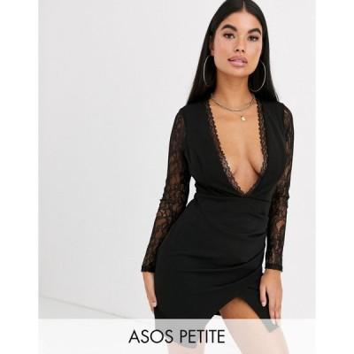 エイソス ミディドレス レディース ASOS DESIGN Petite long sleeve lace insert wrap mini dress エイソス ASOS ブラック 黒