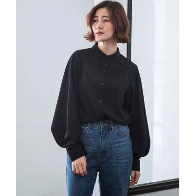 ジーラ GeeRA 【WEB限定】バルーンスリーブスタンドカラーシャツ (ブラック)