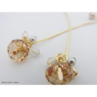 【ゆうパケット送料無料】 イヤリング 独創的なデザインのメタルゴールドラインのボタンカットビーズのイヤリング イアリング 日本製