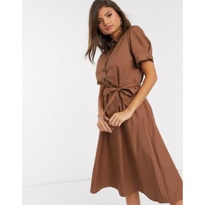 ヴィラ レディース ワンピース トップス Vila midi shirt dress with tie waist in brown
