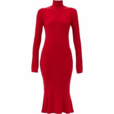 ノーマ カマリ Norma Kamali レディース ワンピース ミドル丈 ワンピース・ドレス Fluted-hem jersey midi dress Red