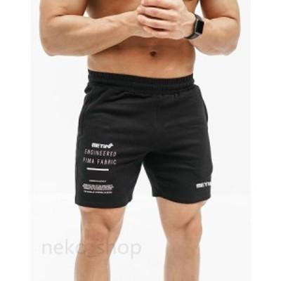 3colorフィットネス トレーニングウェア スウェット メンズ ショートパンツ スポーツパンツ  短パン ボトムス 英字柄 カジュアルパンツ