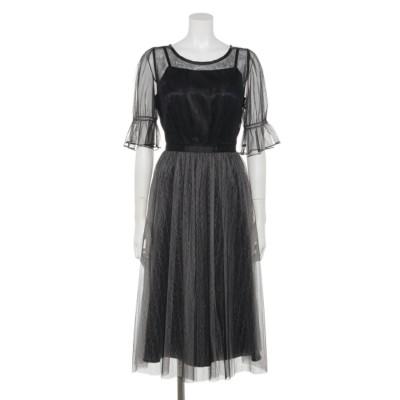 【Rewde】ラメチュール入りドレス(9R04-A1825) (クロ)