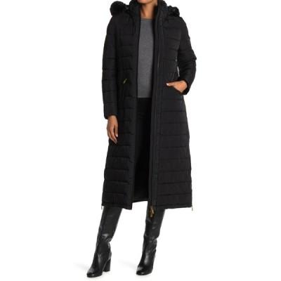ダナキャラン レディース ジャケット&ブルゾン アウター Faux Fur Hooded Down Coat BLACK
