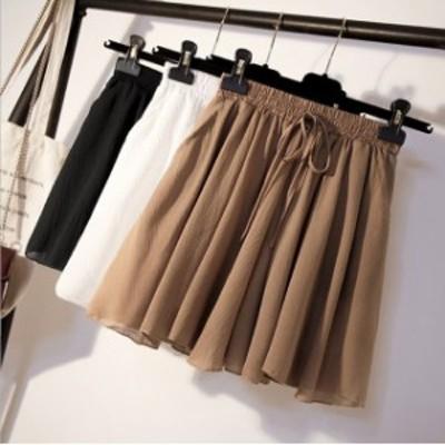 キュロットパンツ ショートパンツ レディース キュロットスカート フレアパンツ ウエストゴム 大きいサイズ 通勤 全4色 全店2点送料無料
