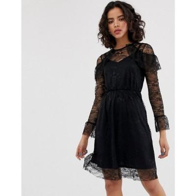 ウェアハウス Warehouse レディース ワンピース ワンピース・ドレス All Over Lace Skater Midi Dress Black