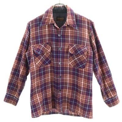 70s オープンカラー シャツ  OC MORITS 開襟 チェック柄 ウールブレンド 長袖 ヴィンテージ 赤×紺 メンズ 200302