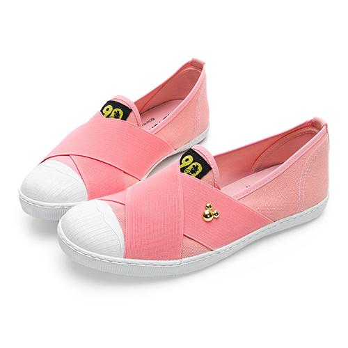 DISNEY  頑皮米奇 彈性交叉繃帶懶人鞋-粉(DW5137)