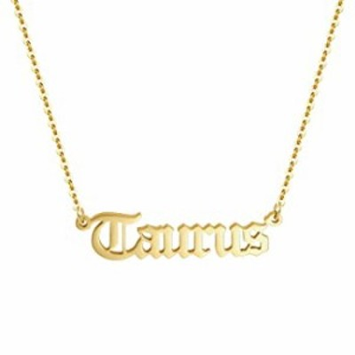 Aimber 18K Gold Plated Astrology Necklace for Women Jewelry,12 Zodiac Pendant Horoscope Constellations Necklace(Letter,Taurus)