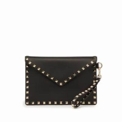ヴァレンティノ クラッチバッグ Rockstud leather envelope clutch Black