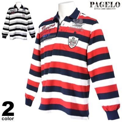 パジェロ PAGELO 長袖 ポロシャツ メンズ 2020秋冬 アップリケ ボーダー 07-1801-06