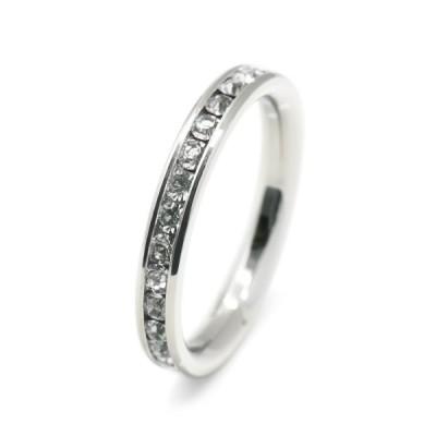 指輪 サージカルステンレス 一周ぐるり水晶のフルエタニティリング レール留め クリア レディース メンズ
