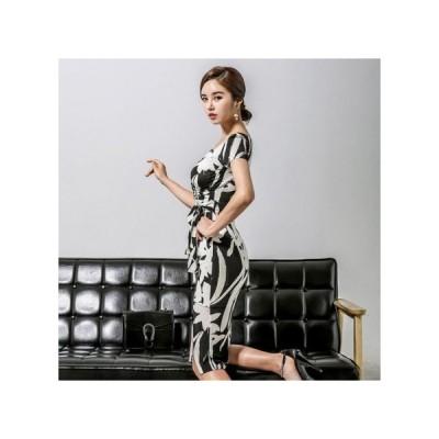 パーティードレス タイトスカート ひざ丈 総柄 半袖 総柄 レディース ワンピース 結婚式 二次会 お呼ばれドレス kh-0385