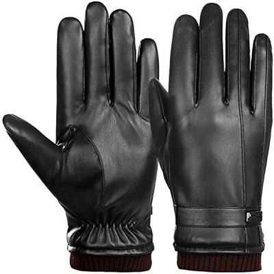 ARZER 手袋 メンズ 革 裏起毛 スマホ対応 紳士 冬 柔らか 肌触り良い (黒タイプ3)